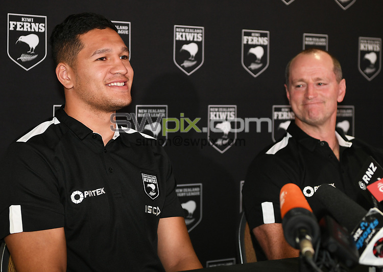 Dallin Watene-Zelezniak is announced as the Kiwis Rugby League captain at a press conference as Kiwis coach Michael Maguire looks on ahead of the upcoming test match against the Australian Kangaroos this weekend. Pullman Hotel, Auckland, New Zealand. Tuesday 9 October 2018. © Copyright photo: Andrew Cornaga / www.photosport.nz