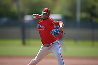 Philadelphia Phillies pitcher Carlos Betancourt (56) during a Minor League Spring Training game against the Toronto Blue Jays on March 29, 2019 at the Carpenter Complex in Clearwater, Florida.  (Mike Janes/Four Seam Images)