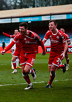 10th January 2021; Broadfield Stadium, Crawley, Sussex, England; English FA Cup Football, Crawley Town versus Leeds United; Jordan Tunnicliffe of Crawley celebrates as he scores for 3-0 in the 70th minute with Tony Craig of Crawley