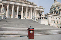 A lectern is set up for a press conference on President Joe Biden and House Speaker Nancy Pelosi's leadership, outside of the US Capitol in Washington, DC, Thursday, July 29, 2021. Credit: Rod Lamkey / CNP / MediaPunch