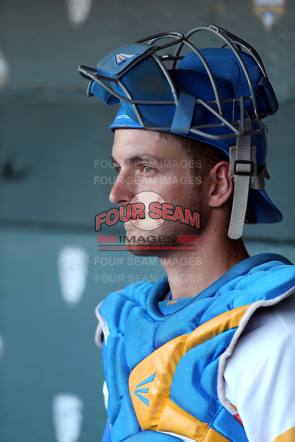 Shane Zeile #9 of the UCLA Bruins during a game against the Stanford Cardinal at Jackie Robinson Stadium on May 2, 2014 in Los Angeles, California. UCLA defeated Stanford, 7-2. (Larry Goren/Four Seam Images)