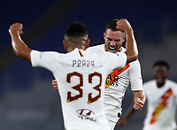 Roma s Jordan Veretout, right, celebrates with his teammate Bruno Peres after scoring the winning goal during the Italian Serie A football match between Roma and Parma at Rome's Olympic stadium, July 8, 2020. Roma won 2-1.<br /> UPDATE IMAGES PRESS/Isabella Bonotto