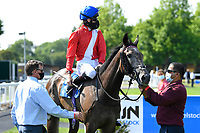 Winner of The AJN Steelstock Steel Processors British EBF Fillies' Handicap  Indie Angel ridden by Robert Havlin and trained by John Gosden in the Winners enclosure during Horse Racing at Salisbury Racecourse on 9th August 2020