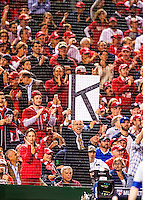 """13 October 2016: A Washington Nationals fan holds up a """"K"""" poster indicating a strikeout by starting pitcher Max Scherzer during the NLDS Game 5 between the Los Angeles Dodgers and the Washington Nationals at Nationals Park in Washington, DC. The Dodgers edged out the Nationals 4-3, to take Game 5, and the Series, 3 games to 2, moving on to the National League Championship against the Chicago Cubs. Mandatory Credit: Ed Wolfstein Photo *** RAW (NEF) Image File Available ***"""