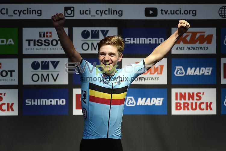 Picture by Richard Blaxall/SWpix.com - 26/09/2018 - Cycling 2018 Road Cycling World Championships Innsbruck-Tiriol, Austria - Men's Junior Race - Remco Evenepoel of Belgium celebrates winning Gold