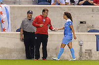 Chicago, IL - Saturday July 30, 2016: Rory Dames, Stephanie McCaffrey during a regular season National Women's Soccer League (NWSL) match between the Chicago Red Stars and FC Kansas City at Toyota Park.