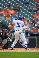 Luke Becker (10) of the Kentucky Wildcats at bat against the Sam Houston State Bearkats during game four of the 2018 Shriners Hospitals for Children College Classic at Minute Maid Park on March 3, 2018 in Houston, Texas. The Wildcats defeated the Bearkats 7-2.  (Brian Westerholt/Four Seam Images)