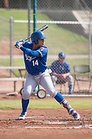 Gabriel Cancel (14) of the Kansas City Royals at bat during an Instructional League game against the San Francisco Giants at the Giants Training Complex on October 17, 2017 in Scottsdale, Arizona. (Zachary Lucy/Four Seam Images)