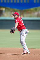 Cincinnati Reds second baseman Alejo Lopez (55) on defense during an Instructional League game against the Los Angeles Dodgers on September 26, 2017 at Camelback Ranch in Glendale, Arizona. (Zachary Lucy/Four Seam Images)