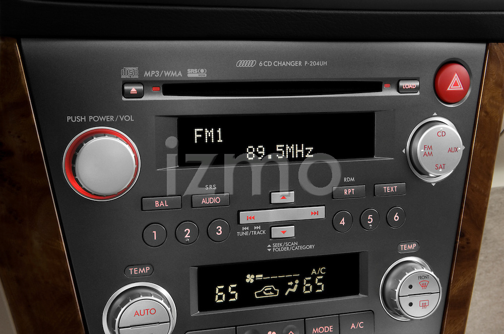 Stereo audio system close up detail view of a 2008 Subaru Legacy GT sedan