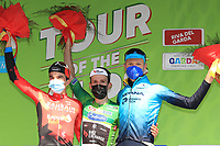 23rd April 2021; Cycling Tour des Alpes Stage 5, Valle del Chiese to Riva del Garda, Italy on 23rd;  From left, Pello Bilbao Bahrain Victorious, Simon Yates Team BikeExchange and Aleksandr Vlasov Astana - Premier Tech on the podium