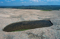 Pot hole filled with water, Enchanted Rock State Natural Area, Fredericksburg,Texas, USA
