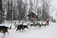 Sunday February 28, 2010  Rebekah Ruzicka on the trail shortly before finishing the Jr. Iditarod Sled Dog race in Willow ,  AK.   Rebekah finished in 3rd place