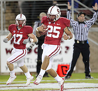 STANFORD, CA-NOVEMBER 27, 2010- Tyler Gaffney (#25)  in the end-zone with Griff Whalen (#17) after a 52 yard pass completion during Stanford's 38-0 victory over Oregon St., Saturday, November 27, 2010.