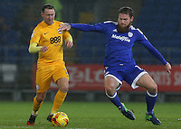 Aron Gunnarsson of Cardiff City challenges Daryl Horgan of Preston North End during the Sky Bet Championship match between Cardiff City and Preston North End at Cardiff City Stadium, Wales, UK. Tuesday 31 January 2017