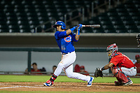 AZL Cubs center fielder Nelson Velazquez (20) follows through on his swing against the AZL Angels on August 31, 2017 at Sloan Park in Mesa, Arizona. AZL Cubs defeated the AZL Angels 9-2. (Zachary Lucy/Four Seam Images)