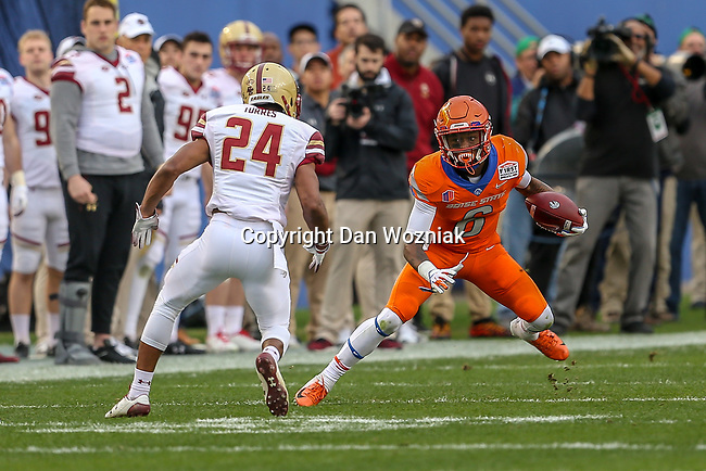 Boise State Broncos wide receiver CT Thomas (6) in action during the Servpro First Responder Bowl game between Boise State Broncos and Boston College Eagles at the Cotton Bowl Stadium in Dallas, Texas.
