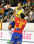 Spain's Raul Entrerrios (d) and Bosnia Herzegovina's Nikola Prce during 2018 Men's European Championship Qualification 2 match. November 2,2016. (ALTERPHOTOS/Acero)