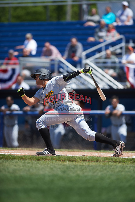 West Virginia Black Bears catcher Yoel Gonzalez (52) at bat during a game against the Batavia Muckdogs on June 25, 2017 at Dwyer Stadium in Batavia, New York.  West Virginia defeated Batavia 6-4 in the completion of the game started on June 24th.  (Mike Janes/Four Seam Images)
