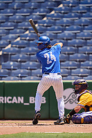Memphis Tigers Ben Brooks (24) bats during a game against the East Carolina Pirates on May 25, 2021 at BayCare Ballpark in Clearwater, Florida.  (Mike Janes/Four Seam Images)