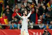 Spain's Isco Alarcon celebrates goal during international friendly match. March 27,2018. *** Local Caption *** © pixathlon<br /> Contact: +49-40-22 63 02 60 , info@pixathlon.de