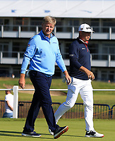 15th July 2021; Royal St Georges Golf Club, Sandwich, Kent, England; The Open Championship, PGA Tour, European Tour Golf, First Round ; Ernie Els (RSA) and Gary Woodland (USA) walk from the tee on the opening hole