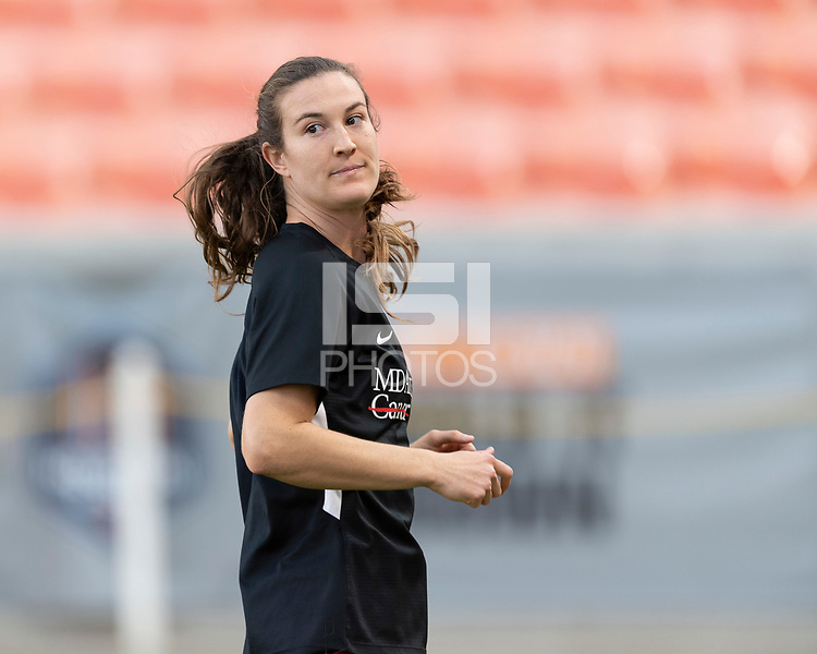 HOUSTON, TX - SEPTEMBER 10: Katie Naughton #25 of the Houston Dash warming up before a game between Chicago Red Stars and Houston Dash at BBVA Stadium on September 10, 2021 in Houston, Texas.