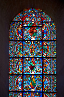 Medieval stained glass Window of the Gothic Cathedral of Chartres, France - dedicated to The Tree of Jesse (12th century). Botton row of panels - Moses / Generic King of Israel / Balaam, row above - Samuel / Generic King of Israel / Amos, row above - Zacchariah / The Virgin Mary / Daniel, top row - Habakkuk / Christ with the Seven Gifts of the Spirit / Zephaniah. A UNESCO World Heritage Site..