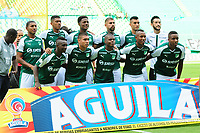 PALMIRA - COLOMBIA, 27-10-2018: Jugadores del Cali posan para una foto durante los actos protocolarios previo al partido entre el Deportivo Cali y Jaguares de Córdoba por la fecha 17 de la Liga Águila II 2017 jugado en el estadio Palmaseca de Cali. / Players of Cali pose to a photo during the formal events prior the match between Deportivo Cali and Jaguares de Cordoba for the date 17 of the Aguila League II 2017 played at Palmaseca stadium in Cali.  Photo: VizzorImage/ Nelson Rios / Cont