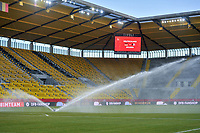 spraying the grass before a friendly female soccer game between the national teams of Germany and  Belgium , called the Red Flames  in a pre - bid tournament called Three Nations One Goal with the national teams from Belgium , The Netherlands and Germany towards a bid for the hosting of the 2027 FIFA Women's World Cup , on Sunday 21 st of February 2021  in Aachen , Germany . PHOTO SPORTPIX.BE   SPP   STIJN AUDOOREN