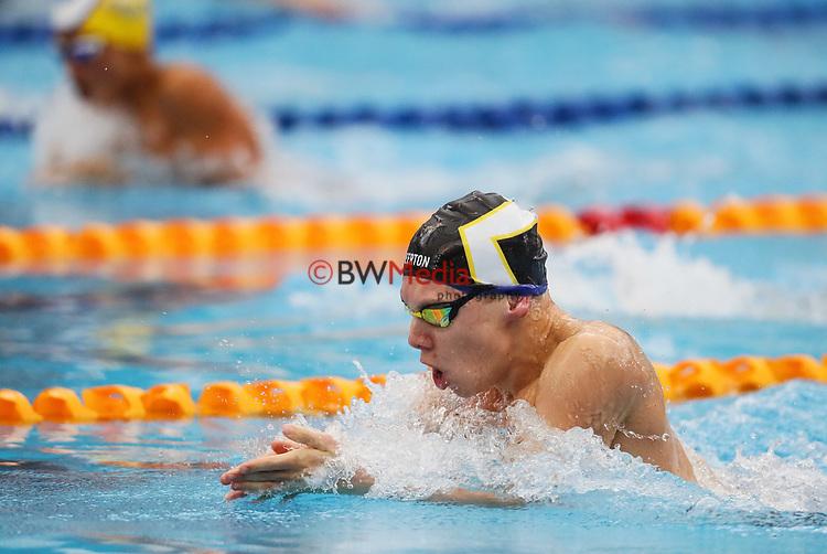 Travis Hudson, 100 Breast. AON Swimming New Zealand National Age Group Swimming Championships, National Aquatic Centre, Auckland, New Zealand, Thursday 19 April 2018. Photo: Simon Watts/www.bwmedia.co.nz