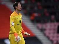 17th October 2020; Vitality Stadium, Bournemouth, Dorset, England; English Football League Championship Football, Bournemouth Athletic versus Queens Park Rangers; Asmir Begovic of Bournemouth encourages his team