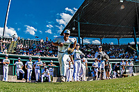 20 June 2021: Vermont Lake Monsters infielder M.J. Metz, from San Diego, CA, takes the field to face the Westfield Starfires at Centennial Field in Burlington, Vermont. The Lake Monsters fell to the Starfires 10-2 at Centennial Field, in Burlington, Vermont. Mandatory Credit: Ed Wolfstein Photo *** RAW (NEF) Image File Available ***