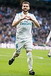 Real Madrid Nacho Fernandez celebrating a goal during La Liga match between Real Madrid and R. C. Deportivo at Santiago Bernabeu Stadium in Madrid, Spain. January 18, 2018. (ALTERPHOTOS/Borja B.Hojas)