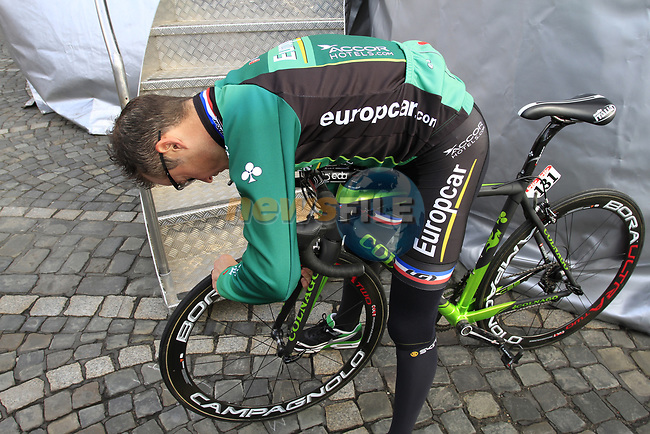 Thomas Voeckler (FRA) Team Europcar adjusts his bike before the start of the 98th edition of Liege-Bastogne-Liege outside the Palais des Princes-Eveques, running 257.5km from Liege to Ans, Belgium. 22nd April 2012.  <br /> (Photo by Eoin Clarke/NEWSFILE).