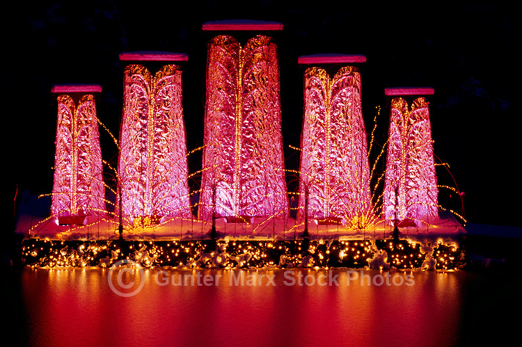 """Butchart Gardens, Brentwood Bay near Victoria, Vancouver Island, BC, British Columbia, Canada - """"Dancing Waters"""" Christmas Lights and Decorations"""