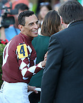 HALLANDALE BEACH, FL - JANUARY 21:  Jockey John Velazquez the Winners' Circle after his win of the Sunshine Millions Turf Stakes at Gulfstream Park on January 21, 2017 in Hallandale Beach, Florida. (Photo by Liz Lamont/Eclipse Sportswire/Getty Images)