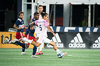 """FOXBOROUGH, MA - SEPTEMBER 04: Adolfo """"Fito"""" Ovalle #5 Forward Madison FC scores the Forward Madison FC 3rd goal for the night during a game between Forward Madison FC and New England Revolution II at Gillette Stadium on September 04, 2020 in Foxborough, Massachusetts."""