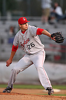 Spokane Indians pitcher Jerad Eickhoff  #26 pitches against the Salem-Keizer Volcanoes at Volcanoes Stadium on August 10, 2011 in Salem-Keizer,Oregon. Salem-Keizer defeated Spokane 7-6.(Larry Goren/Four Seam Images)