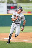 Aaron Judge (35) of the Charleston RiverDogs rounds third base during the game against the Hickory Crawdads at L.P. Frans Stadium on May 25, 2014 in Hickory, North Carolina.  The RiverDogs defeated the Crawdads 17-10.  (Brian Westerholt/Four Seam Images)