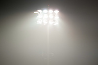 SAN JOSE, CA - SEPTEMBER 13: Lights illuminate the haze during a game between Los Angeles Galaxy and San Jose Earthquakes at Earthquakes Stadium on September 13, 2020 in San Jose, California.