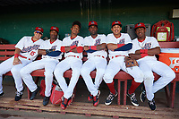 Auburn Doubledays (L-R) Kameron Esthay, Armond Upshaw, Jeyner Baez, Joshual Ramirez, Andres Martinez, and Omar Meregildo before a game against the Connecticut Tigers on August 8, 2017 at Falcon Park in Auburn, New York.  Auburn defeated Connecticut 7-4.  (Mike Janes/Four Seam Images)