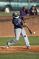 Justice Middleton (9) of the Mallard Creek Mavericks at bat against the Glenn Bobcats at Dale Ijames Stadium on March 22, 2017 in Kernersville, North Carolina.  The Bobcats defeated the Mavericks 12-2 in 5 innings.  (Brian Westerholt/Four Seam Images)