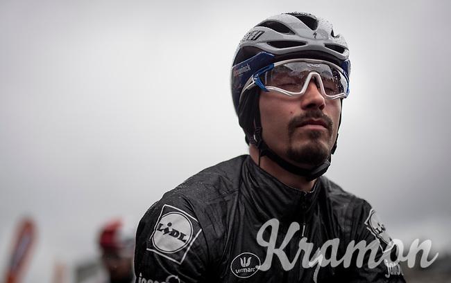 Turbo-meditation session by defending champion Julian ALAPHILIPPE (FRA/Deceuninck-Quick Step) on the start line of the 105th Liège-Bastogne-Liège 2019 (1.UWT)<br /> <br /> One day race from Liège to Liège (256km)<br /> <br /> ©kramon