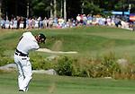 1 September 2008: Camilo Villegas hits an approach shot at the Deutsche Bank Golf Championship in Norton, Massachusetts.
