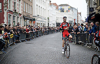Taylor Phinney (USA/BMC) soaks in the atmosphere on the way to the start in Bruges after having had to miss the previous edition <br /> <br /> 100th Ronde van Vlaanderen 2016