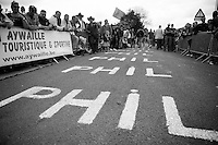 """La Redoute (max 22%) = The PHIL Hill<br /> From the bottom to the top """"PHIL"""" is painted about 800 times on this (local hero's Philippe Gilbert) climb<br /> <br /> Liège-Bastogne-Liège 2014"""