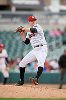 Birmingham Barons relief pitcher Connor Walsh (26) delivers a pitch during a game against the Jacksonville Jumbo Shrimp on April 24, 2017 at Regions Field in Birmingham, Alabama.  Jacksonville defeated Birmingham 4-1.  (Mike Janes/Four Seam Images)