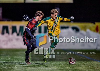 13 November 2019: University of Vermont Catamount Defender Ívar Örn Árnason, a Senior from Akureyri, Iceland, in action against the University of Hartford Hawks at Virtue Field in Burlington, Vermont. The Catamounts fell to the visiting Hawks 3-2 in sudden death overtime of the Division 1 Men's Soccer America East matchup. Mandatory Credit: Ed Wolfstein Photo *** RAW (NEF) Image File Available ***
