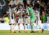 Calcio, Serie A: Juventus - Atalanta, Torino, Allianz Stadium, 14 marzo 2018. <br /> Juventus' players celebrate after winner 2-0 the Italian Serie A football match between Juventus and Atalanta at Torino's Allianz stadium, March 14, 2018.<br /> UPDATE IMAGES PRESS/Isabella Bonotto